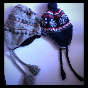 Other - Unisex winter hats with drawstrings set of 2 GUC